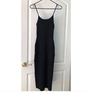 midi black dress w adjustable straps